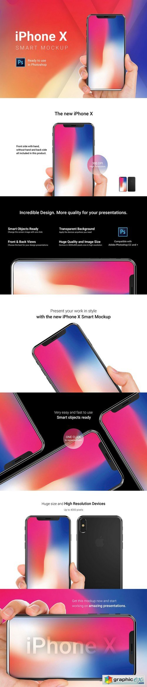 iPhone X Mockup with Hand Straight