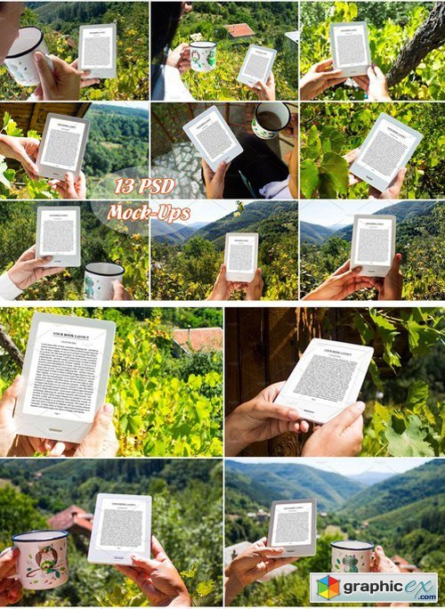 E-Book Reader, 13 PSD Mock-Ups, BUNDLE