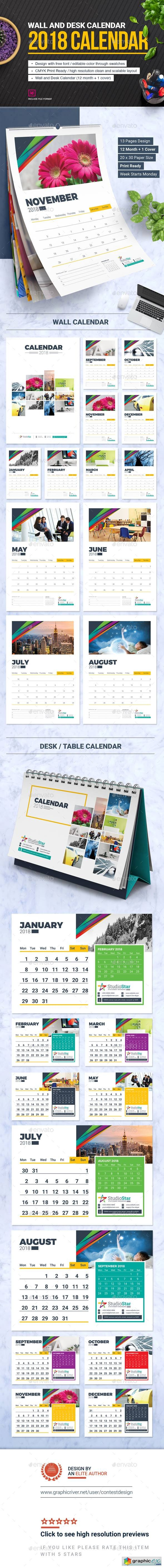 2018 Calendar Design Template | Wall and Desk / Table Calendar 2018