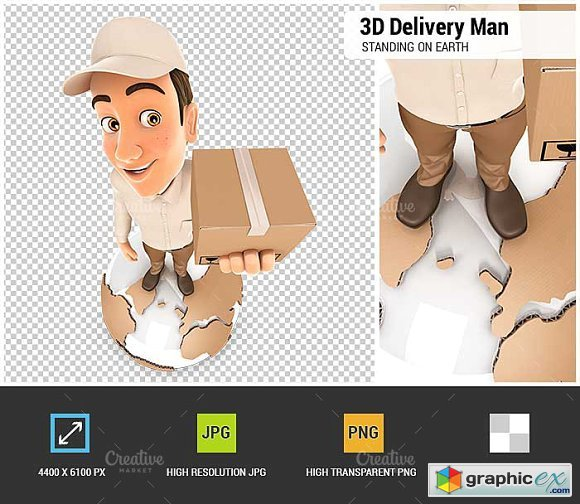 3D Delivery Man Standing on Earth