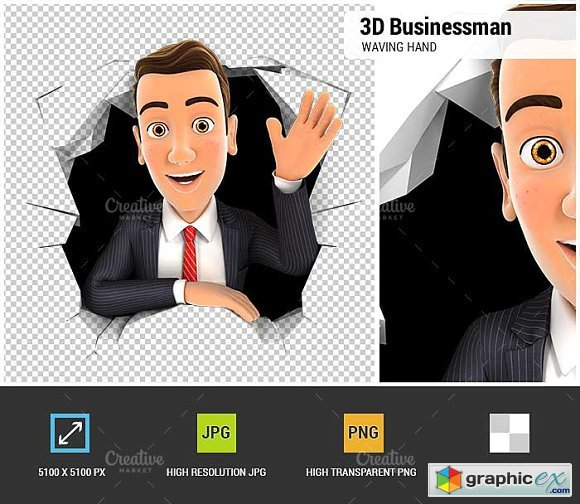 3d businessman waving hand