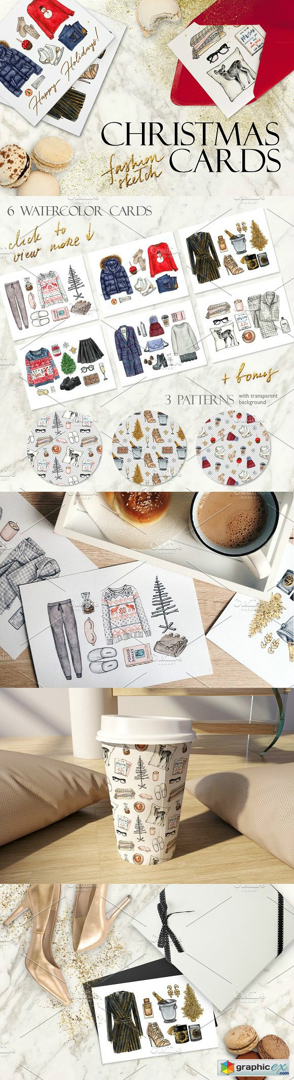 Christmas fashion sketch cards