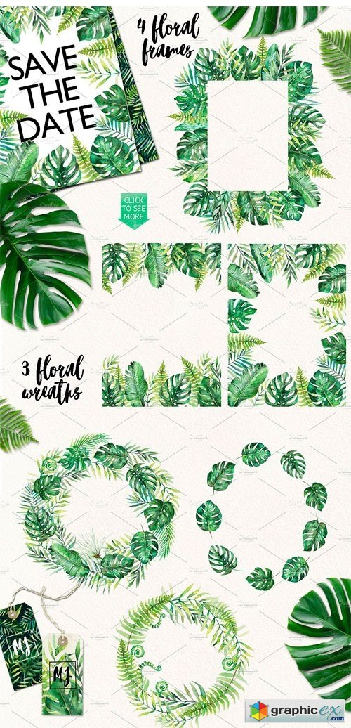 Tropical Leaves Watercolor Clip Art