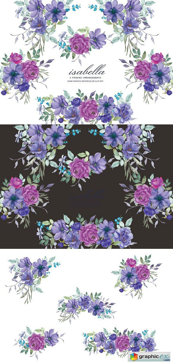 Purple Hand Painted Floral Clip Art