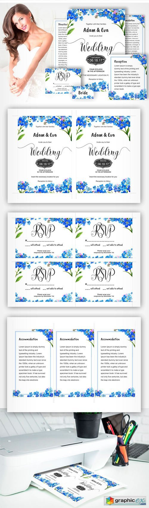 Myosotis Flowers PNG Watercolor Set