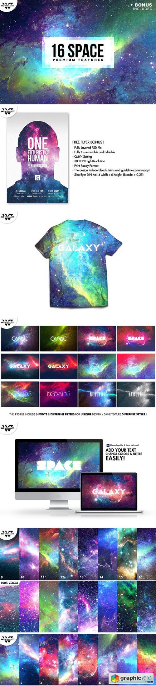16 SPACE GALAXY Textures + BONUS
