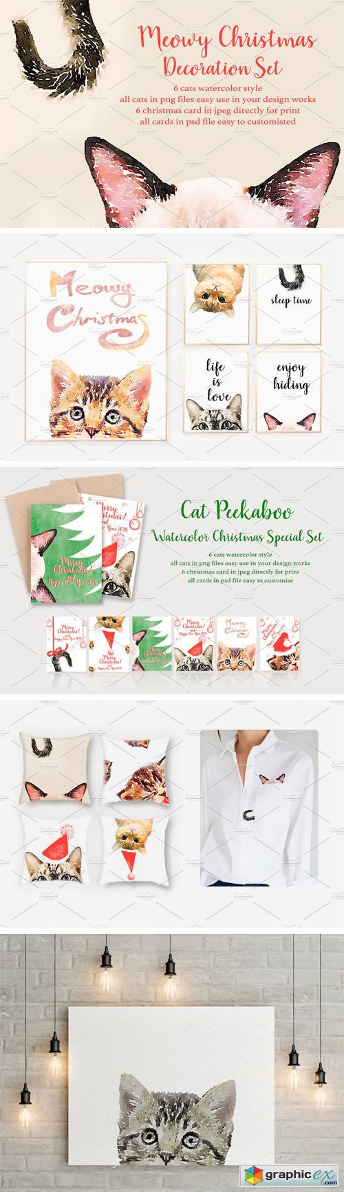 Cat Peekaboo Watercolor Christmas