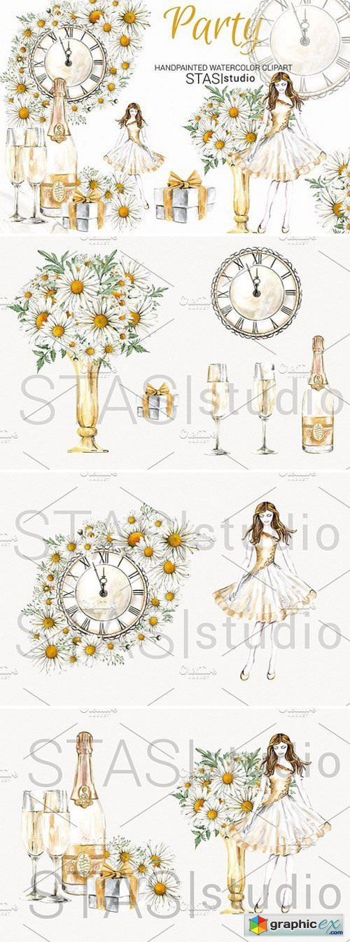 New Year Party Watercolor Clipart