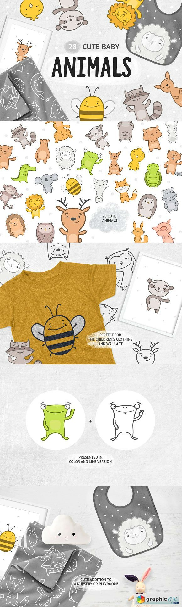 Cute baby animals clipart