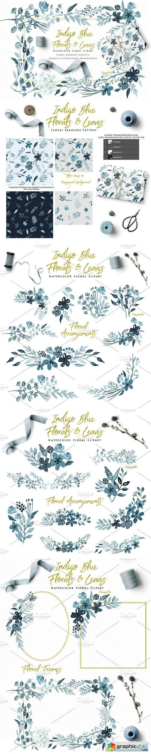 Indigo Blue Florals and Leaves