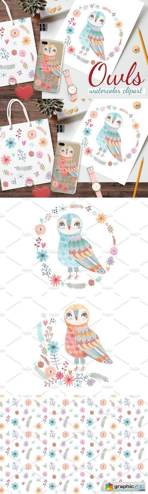 Watercolor owls clipart