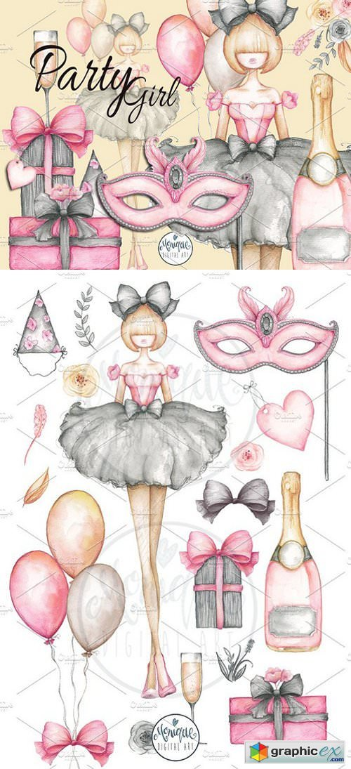 Party Girl Clipart Watercolor