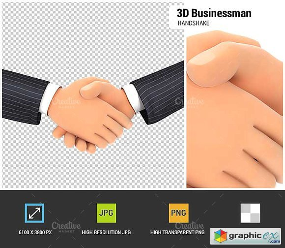 3D Close Up of Business Handshake