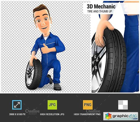 3D Mechanic with Tire and Thumb Up