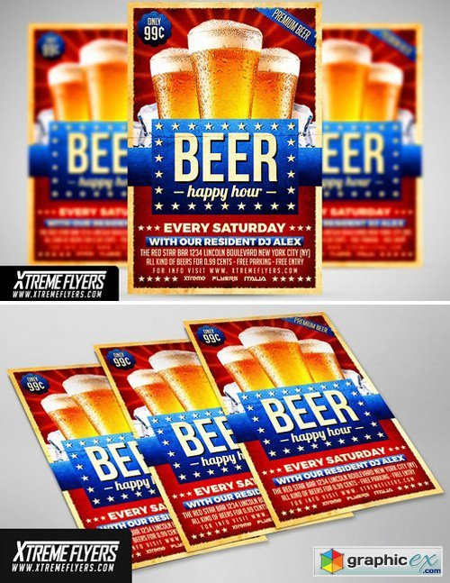 Beer Happy Hour Flyer Template Free Download Vector Stock Image