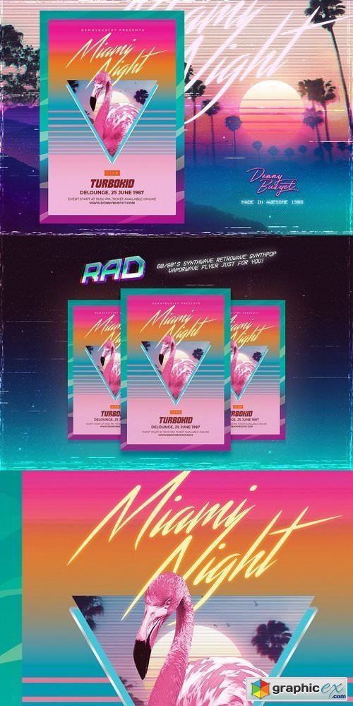 Miami Night 80's Synthwave Flyer » Free Download Vector Stock Image