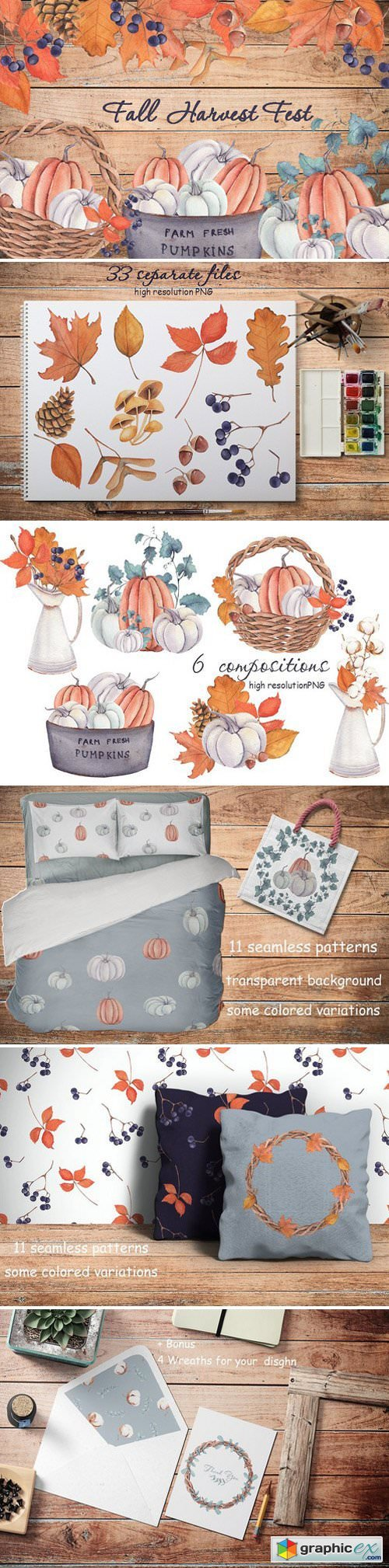 �Fall Harvest Fest� watercolor set