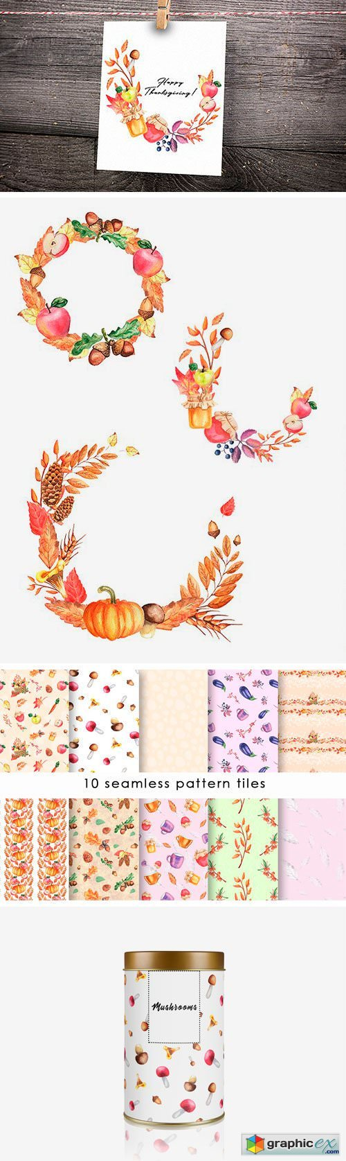 Autumn Collection Watercolor Clipart