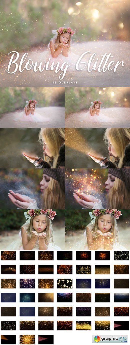 45 Blowing Glitter Overlays