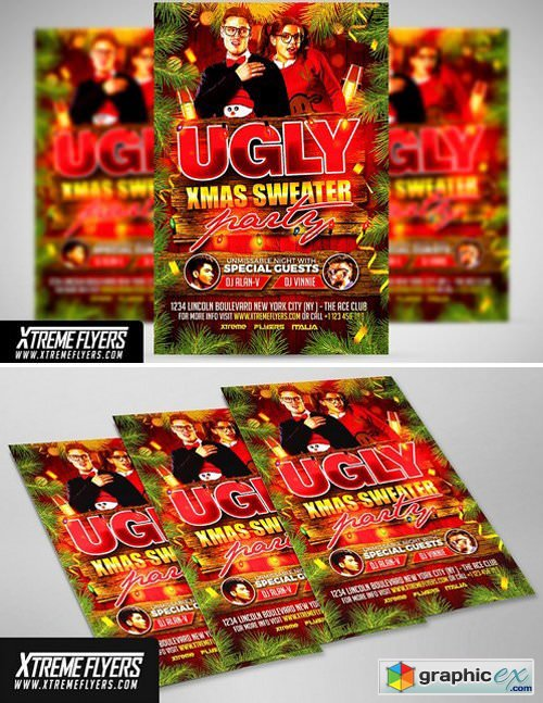 Ugly Christmas Sweater Party Flyer 1814372