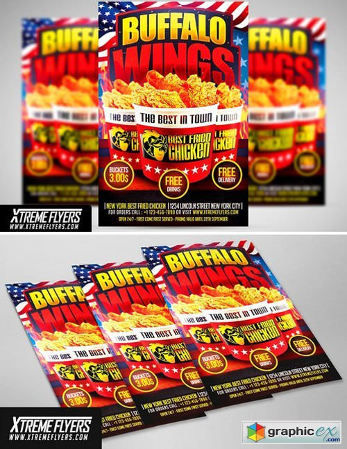 Wings Fast Food Flyer Template