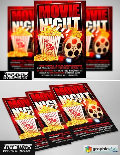 Movie Night Flyer Template 1811306 Free Download Vector