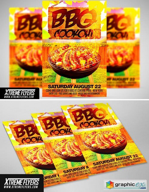 Bbq Cookout Flyer Template Free Download Vector Stock Image