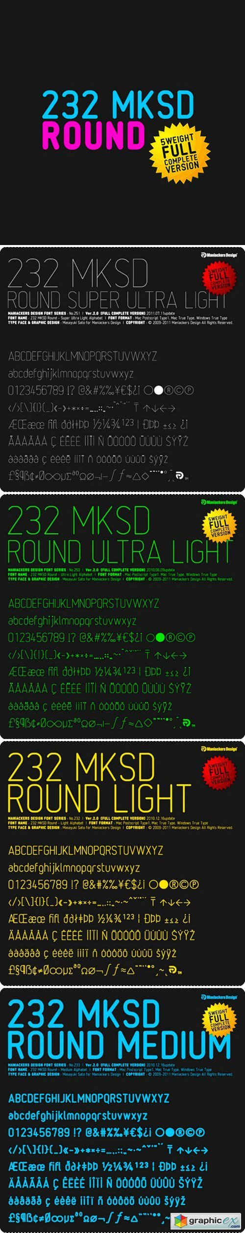 232 mksd Set of 5 fonts