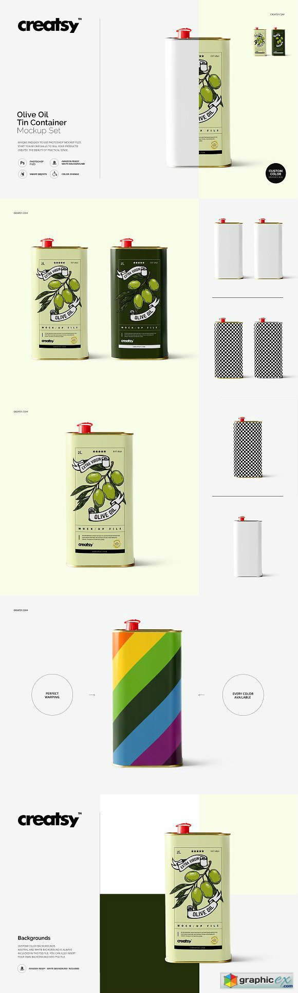 Olive Oil Tin Container Mockup Set