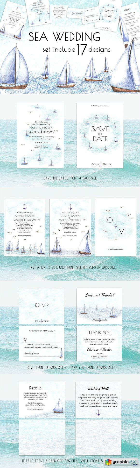 Sea Wedding Invitation Suite