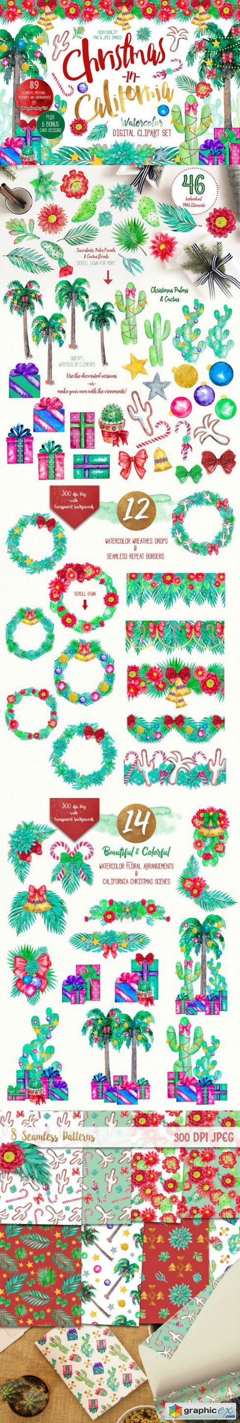Christmas in California clipart set