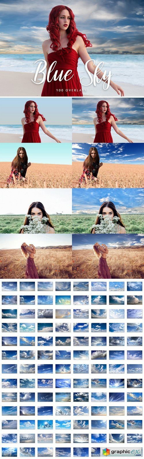 100 Blue Sky Overlays
