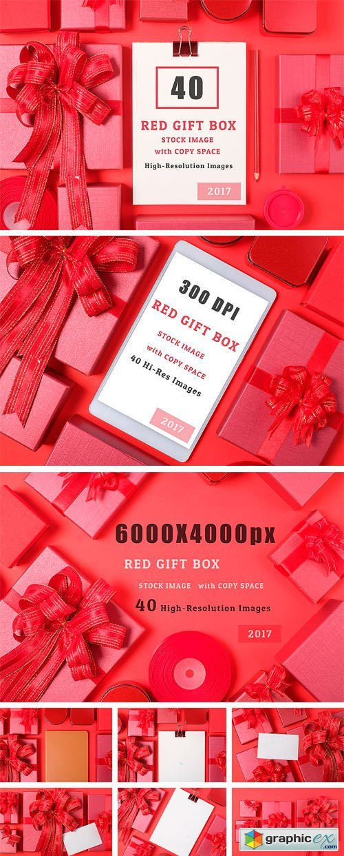 40 Red Gift Box Stock Image