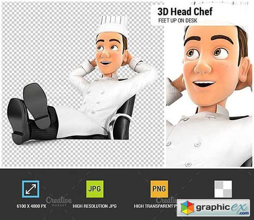 3D Head Chef Relaxing