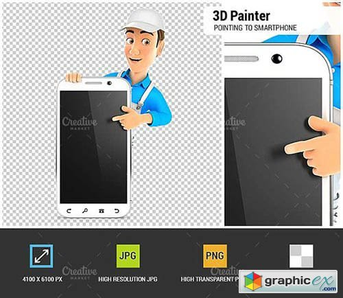 3D Painter Pointing to Smartphone