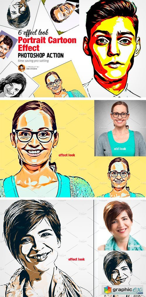 portrait cartoon effect action  u00bb free download vector
