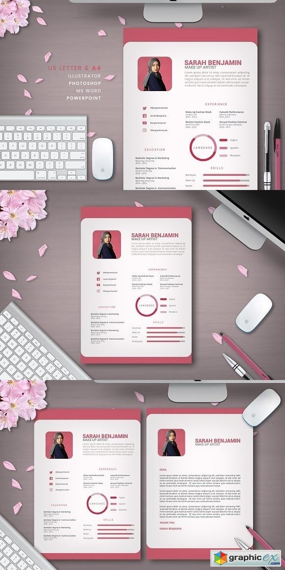 Clean Pink Resume 2 pages