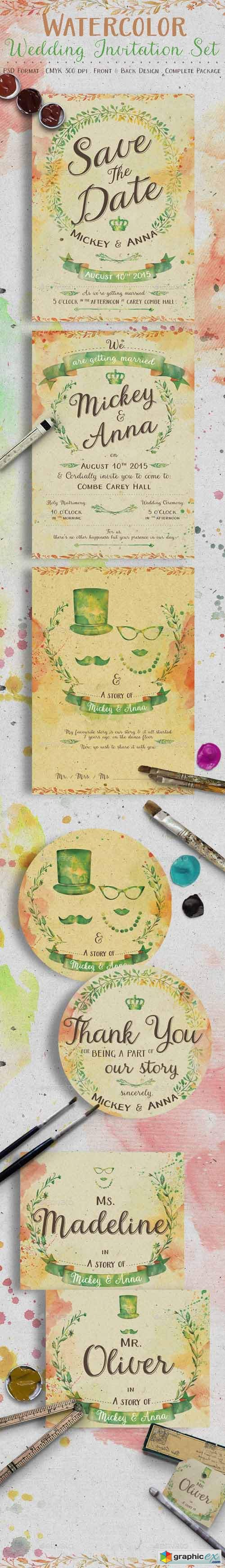 Watercolor Wedding Invitation Set 11988208