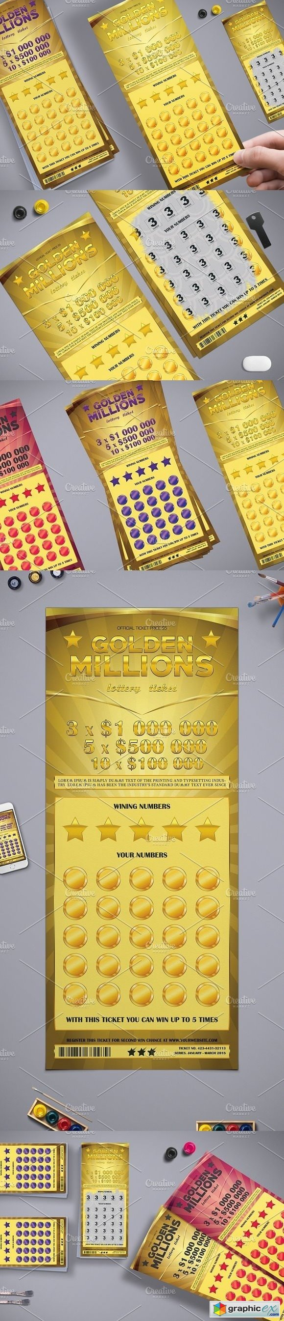 Lottery Ticket in Golden Style