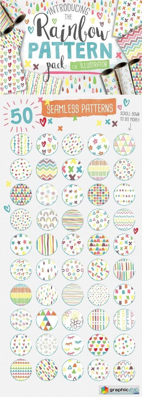 50 Seamless Rainbow Patterns