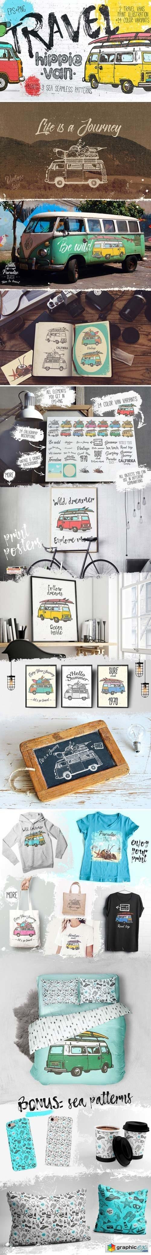 Vintage Hippie Van Print design