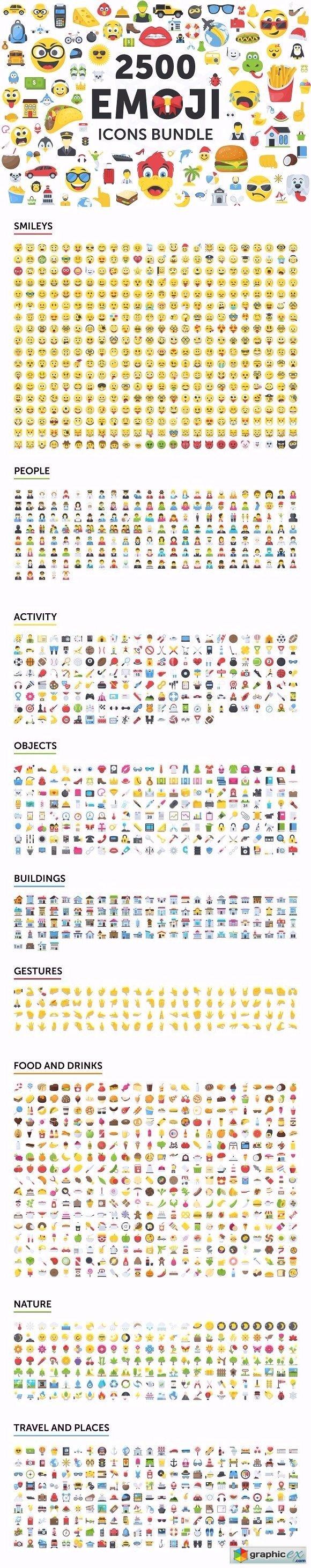 2500 Emoji Icons Bundle