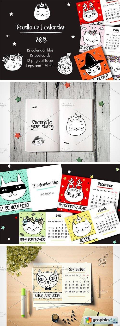 2018 Calendar. Funny Doodle Cats
