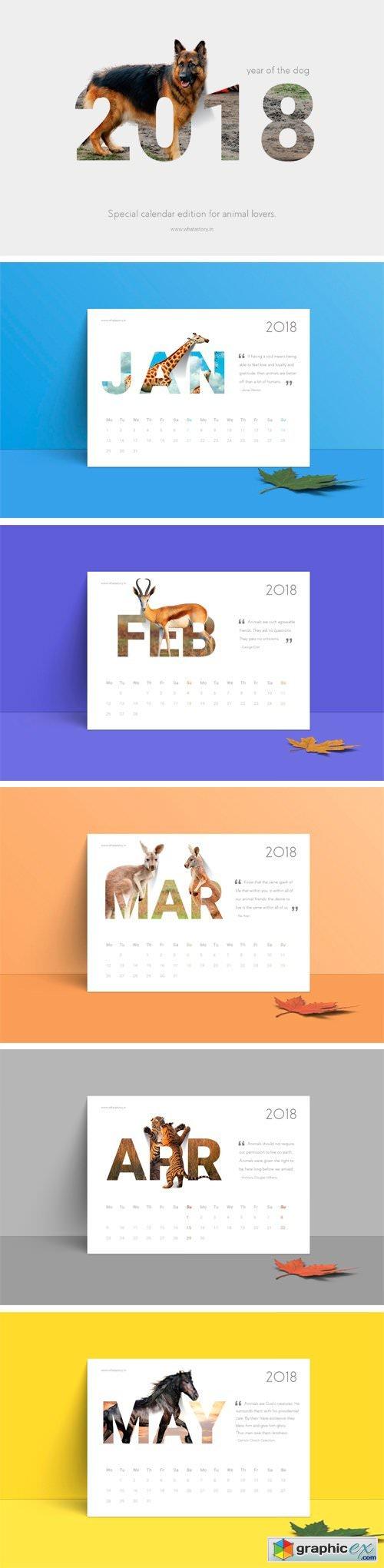 2018 Calendar   Animals