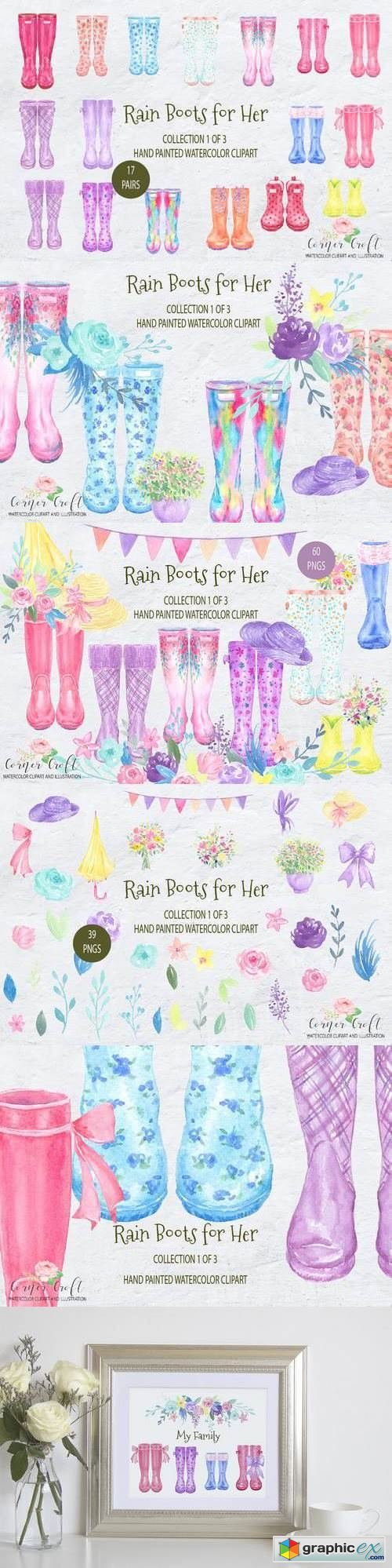 Watercolor Rain Boots for Her - Watercolor collection 1 of 3