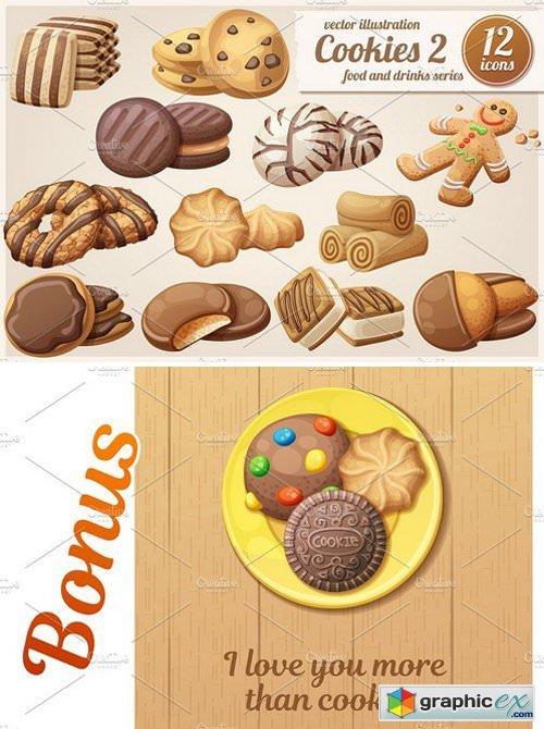Cookies 2: Cartoon vector food icons