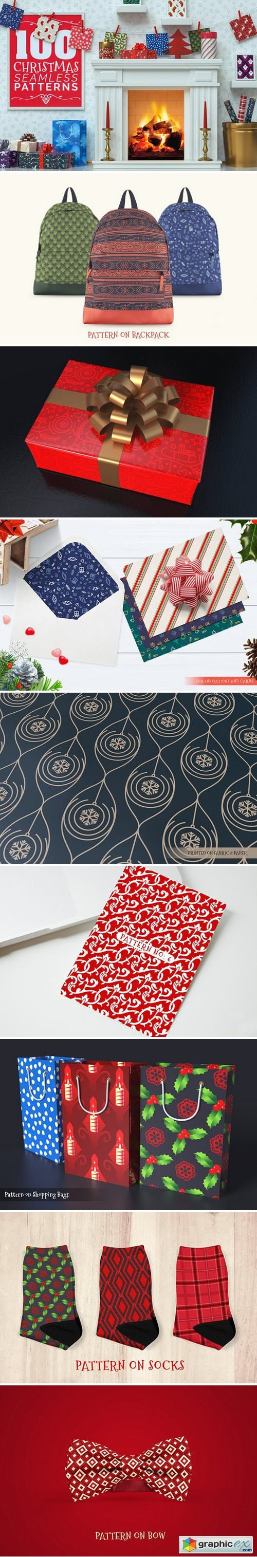 100 Christmas Seamless Patterns