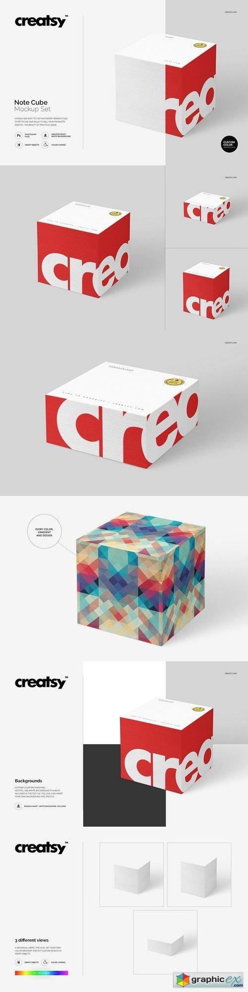 Note Cube Mockup Set