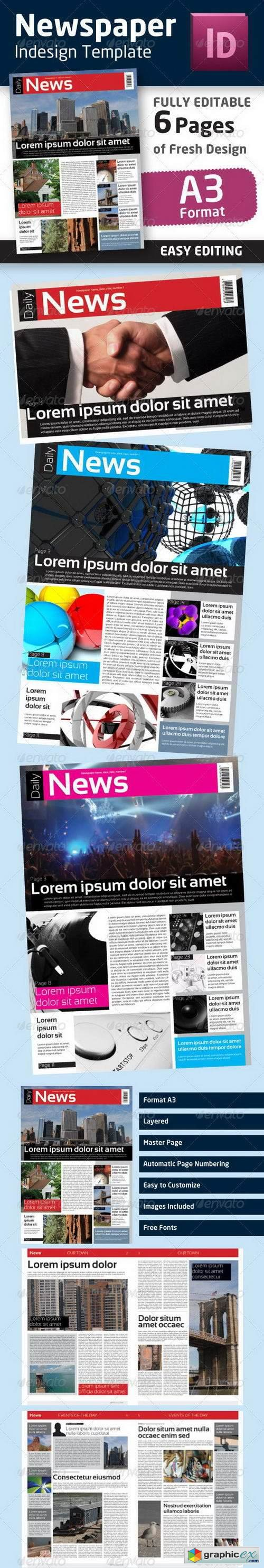 Indesign Newspaper Template In Format A3 Free Download Vector