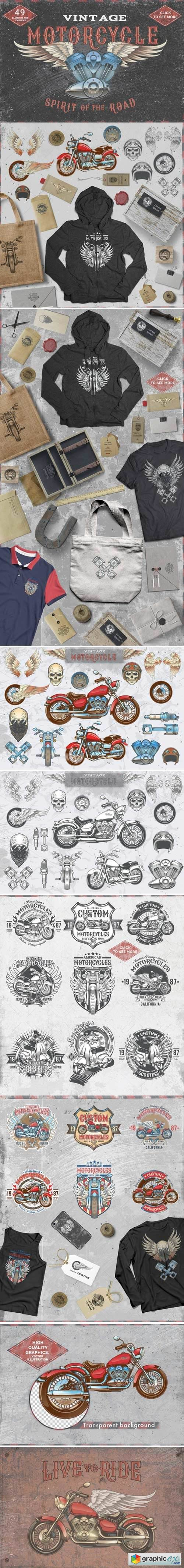 Set Vintage motorcycle labels